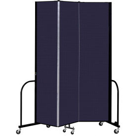 "Screenflex 3 Panel Portable Room Divider, 8' H x 5'9"" L, Fabric Color: Navy"