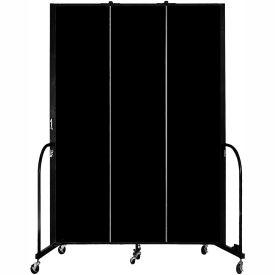 "Screenflex 3 Panel Portable Room Divider, 8'H x 5'9""L, Fabric Color: Charcoal Black"
