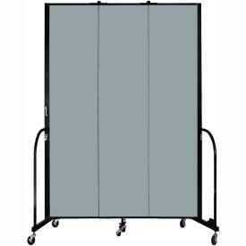 "Screenflex 3 Panel Portable Room Divider, 8'H x 5'9""L, Fabric Color: Grey Stone"