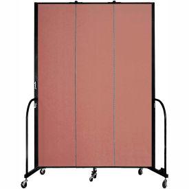 "Screenflex 3 Panel Portable Room Divider, 8'H x 5'9""L, Fabric Color: Cranberry"