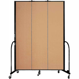 "Screenflex 3 Panel Portable Room Divider, 8'H x 5'9""L, Fabric Color: Sand"