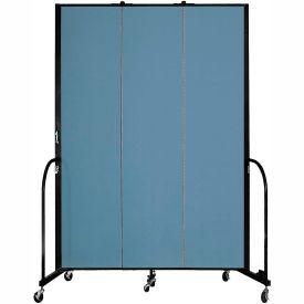 "Screenflex 3 Panel Portable Room Divider, 8'H x 5'9""L, Fabric Color: Blue"