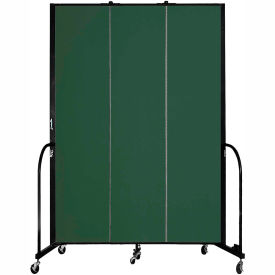 "Screenflex 3 Panel Portable Room Divider, 8'H x 5'9""L, Fabric Color: Green"