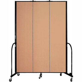 "Screenflex 3 Panel Portable Room Divider, 8'H x 5'9""L, Fabric Color: Wheat"