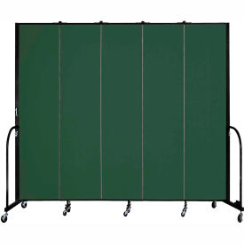 "Screenflex 5 Panel Portable Room Divider, 8'H x 9'5""L, Fabric Color: Mallard"
