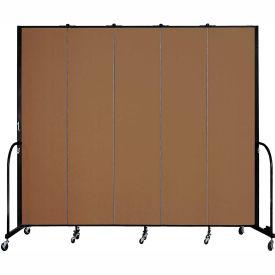 "Screenflex 5 Panel Portable Room Divider, 8'H x 9'5""L, Fabric Color: Walnut"