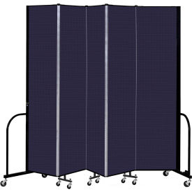 """Screenflex 5 Panel Portable Room Divider, 8' H x 9'5"""" L, Fabric Color: Navy"""