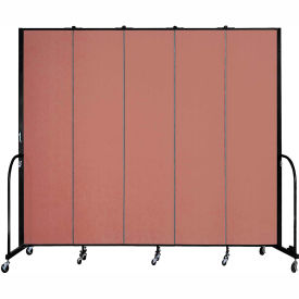"Screenflex 5 Panel Portable Room Divider, 8'H x 9'5""L, Fabric Color: Cranberry"