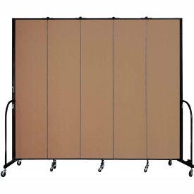 "Screenflex 5 Panel Portable Room Divider, 8'H x 9'5""L, Fabric Color: Beech"