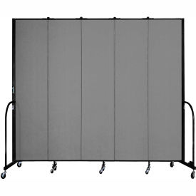 "Screenflex 5 Panel Portable Room Divider, 8'H x 9'5""L, Fabric Color: Grey"