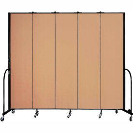 "Screenflex 5 Panel Portable Room Divider, 8'H x 9'5""L, Fabric Color: Wheat"
