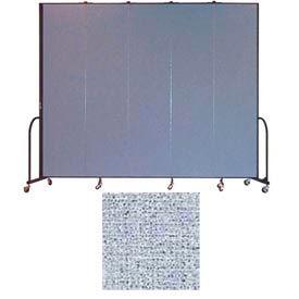 "Screenflex 5 Panel Portable Room Divider, 8'H x 9'5""L, Vinyl Color: Blue Tide"