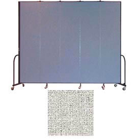 "Screenflex 5 Panel Portable Room Divider, 8'H x 9'5""L, Vinyl Color: Granite"