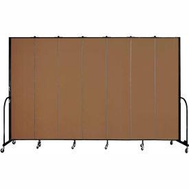 "Screenflex 7 Panel Portable Room Divider, 8'H x 13'1""L, Fabric Color: Walnut"