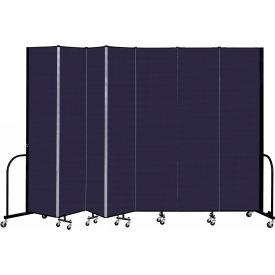 """Screenflex 7 Panel Portable Room Divider, 8' H x 13'1"""" L, Fabric Color: Navy"""