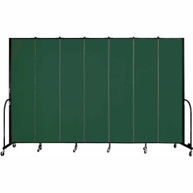 "Screenflex 7 Panel Portable Room Divider, 8'H x 13'1""L, Fabric Color: Green"