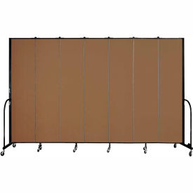 "Screenflex 7 Panel Portable Room Divider, 8'H x 13'1""L, Fabric Color: Oatmeal"