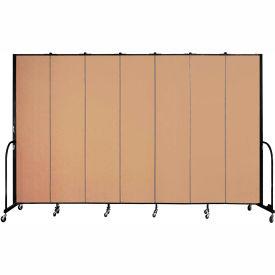 "Screenflex 7 Panel Portable Room Divider, 8'H x 13'1""L, Fabric Color: Wheat"