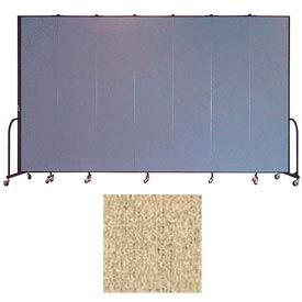 """Screenflex 7 Panel Portable Room Divider, 8'H x 13'1""""L, Vinyl Color: Sandalwood"""