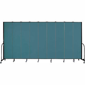 "Screenflex 9 Panel Portable Room Divider, 8'H x 16'9""L, Fabric Color: Lake"