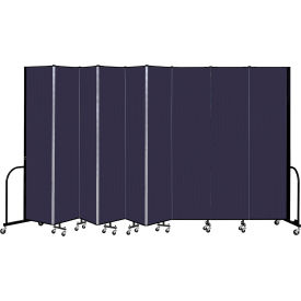 """Screenflex 9 Panel Portable Room Divider, 8' H x 16'9"""" L, Fabric Color: Navy"""
