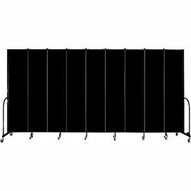 "Screenflex 9 Panel Portable Room Divider, 8'H x 16'9""L, Fabric Color: Charcoal Black"