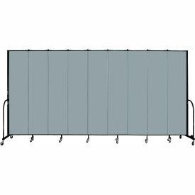 "Screenflex 9 Panel Portable Room Divider, 8'H x 16'9""L, Fabric Color: Grey Stone"