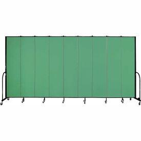 "Screenflex 9 Panel Portable Room Divider, 8'H x 16'9""L, Fabric Color: Sea Green"