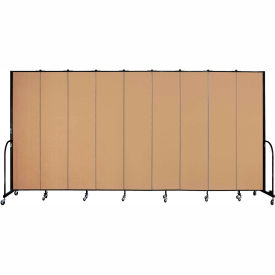 "Screenflex 9 Panel Portable Room Divider, 8'H x 16'9""L, Fabric Color: Sand"