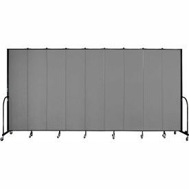 "Screenflex 9 Panel Portable Room Divider, 8'H x 16'9""L, Fabric Color: Grey"