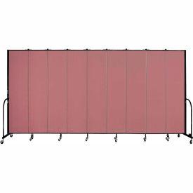 """Screenflex 9 Panel Portable Room Divider, 8'H x 16'9""""L, Fabric Color: Mauve"""