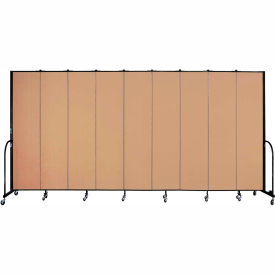 "Screenflex 9 Panel Portable Room Divider, 8'H x 16'9""L, Fabric Color: Wheat"
