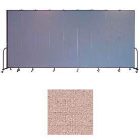 "Screenflex 9 Panel Portable Room Divider, 8'H x 16'9""L, Vinyl Color: Raspberry Mist"
