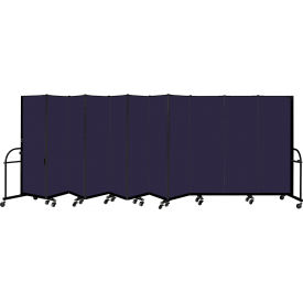 "Screenflex 11 Panel Heavy Duty Portable Room Divider, 6'H x 20' 5""L, Fabric Color: Navy"