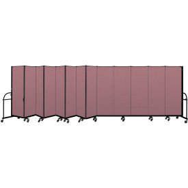 """Screenflex 13 Panel Heavy Duty Portable Room Divider - 6'H x 24' 1""""L - Fabric Color: Rose"""