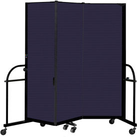 "Screenflex 3 Panel Heavy Duty Portable Room Divider, 6'H x 5' 9""L, Fabric Color: Navy"
