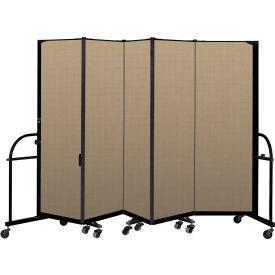 "Screenflex 5 Panel Heavy Duty Portable Room Divider - 6'H x 9' 5""L - Fabric Color: Desert"