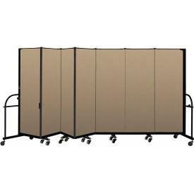 "Screenflex 7 Panel Heavy Duty Portable Room Divider - 6'H x 13' 1""L - Fabric Color: Desert"