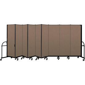 "Screenflex 9 Panel Heavy Duty Portable Room Divider - 6'H x 16' 9""L - Fabric Color: Walnut"