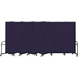 "Screenflex 11 Panel Heavy Duty Portable Room Divider, 7' 4""H x 20' 5""L, Fabric Color: Navy"