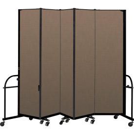 "Screenflex 5 Panel Heavy Duty Portable Room Divider - 7' 4""H x 9' 5""L - Fabric Color: Walnut"