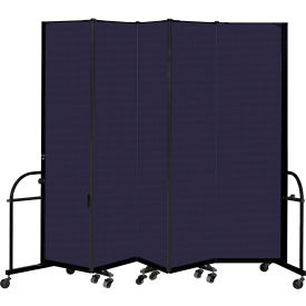"""Screenflex 5 Panel Heavy Duty Portable Room Divider, 7' 4""""H x 9' 5""""L, Fabric Color: Navy"""