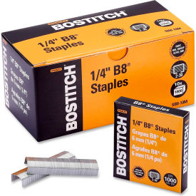 "Stanley Bostitch® B8 PowerCrown™ Staples, 30 Sheet Capacity, 1/4"" Leg Length, 10000/Box"
