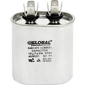 Global Industrial™ B461375, 10 +/- 5% MFD, 370V, Run Capacitor, Oval