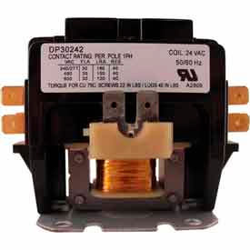 Supco Dp30241 Contactor 30a 24v 1.5 Pole - Pkg Qty 6