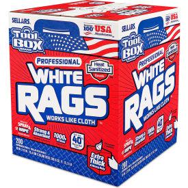 Sellars® Toolbox® Z400 White Rags, 200 Sheets/Box, 6 Boxes/Case 58202