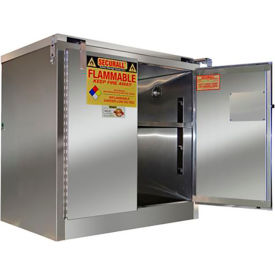 """Securall® 30-Gallon 43""""W Manual Close, Flammable Cabinet Stainless Steel"""