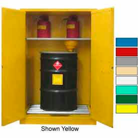 Securall® 75-Gallon, Self Close, Vertical Flammable Drum Cabinet Beige