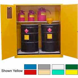 Securall® 120-Gallon, Manual Close, Haz Waste Drum Storage Cabinet Md Green
