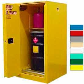 Securall® 60-Gallon, Sliding Door, Haz Waste Drum Storage Cabinet Yellow